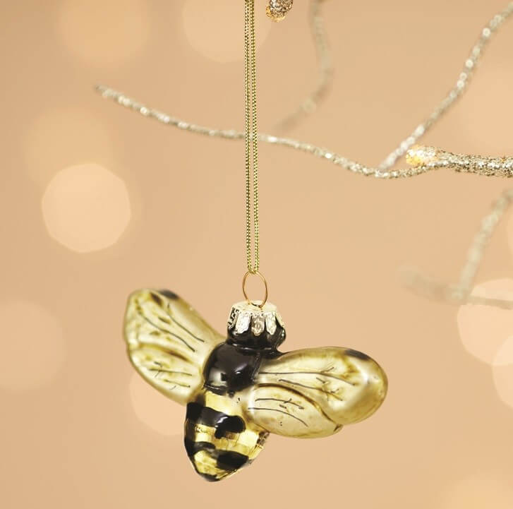 Glass Golden Bumble Bee Christmas Tree Ornament Decoration