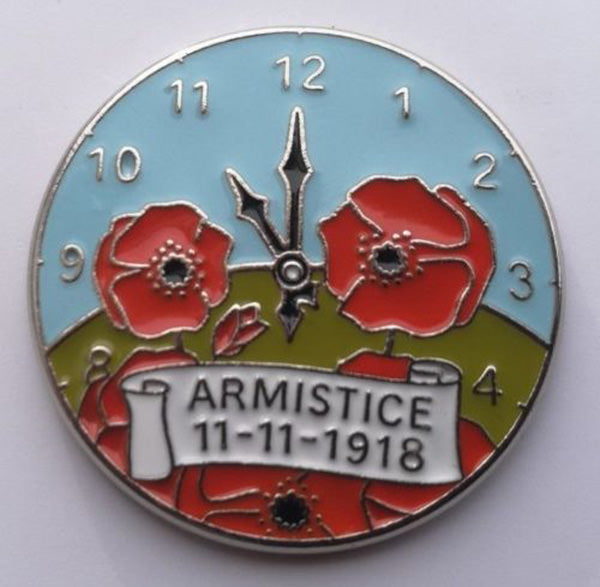 Close up of Armistice Poppy pin badge