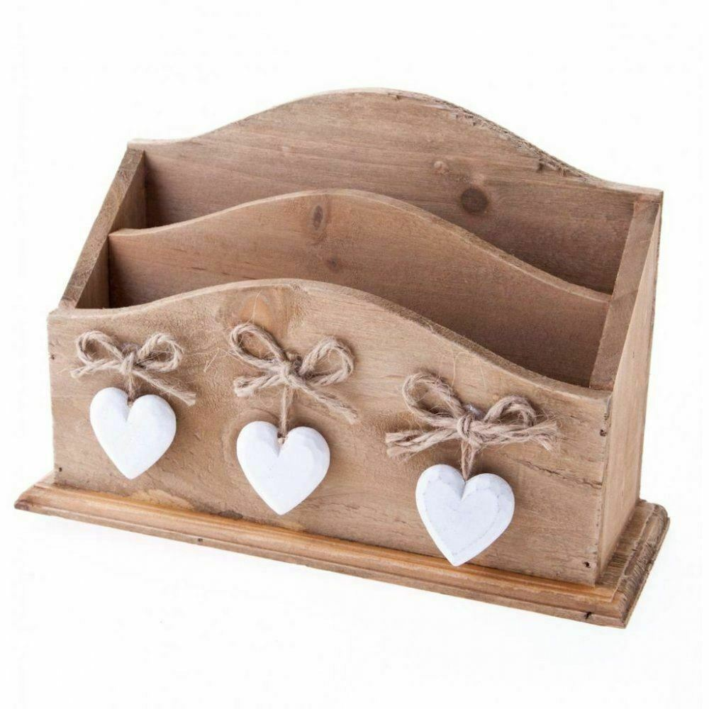 Rustic Wooden Hearts Letter Rack