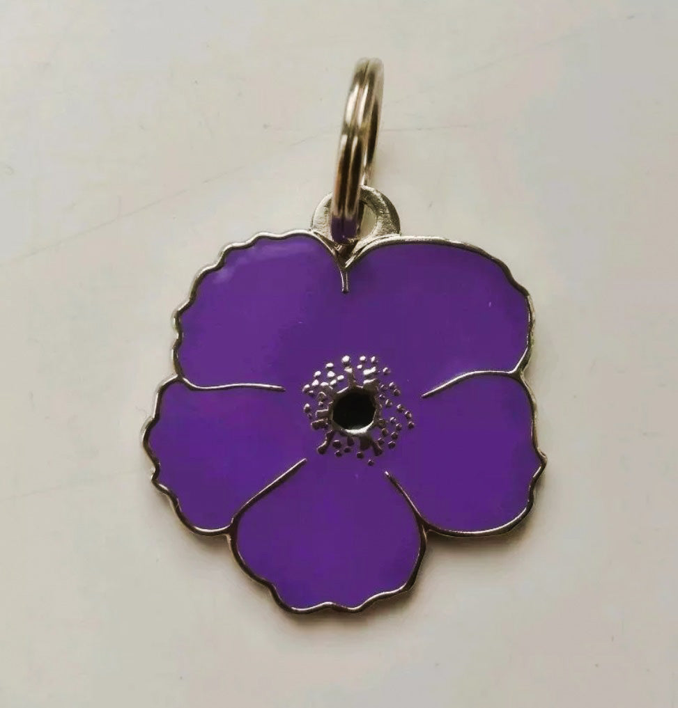 Purple Poppy Enamel Pet Collar Tag