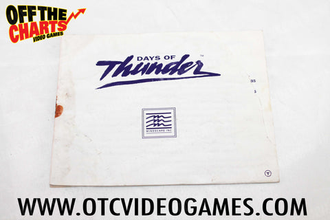 Days of Thunder Manual Nintendo NES Manuals Off the Charts
