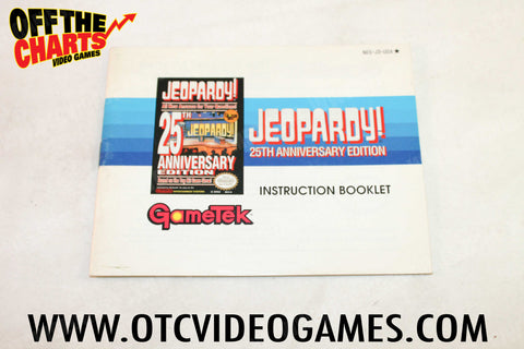 Jeopardy 25th Anniversary Edition Manual Nintendo NES Manual Off the Charts