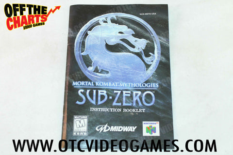 Mortal Kombat Mythologies: Sub Zero Manual - Off the Charts Video Games