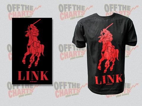 "Link Legend Of Zelda ""Polo"" Mash-Up T-Shirt Red on Black - Off the Charts Video Games"
