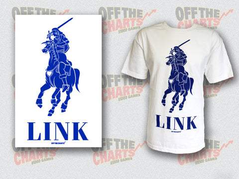 "Link Legend Of Zelda ""Polo"" Mash-Up T-Shirt Blue On White Off the Charts Apparel T-Shirt Off the Charts"