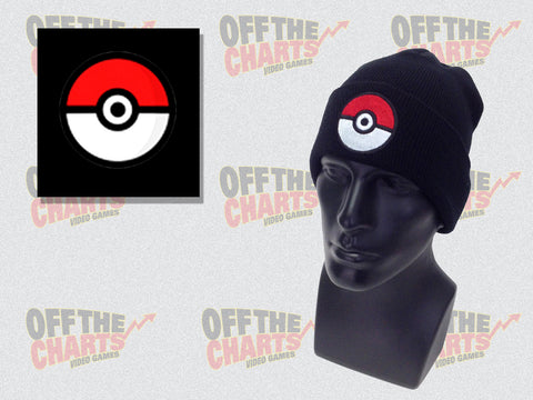 Pokeball Embroidered Beanie Winter Hat - Off the Charts Video Games