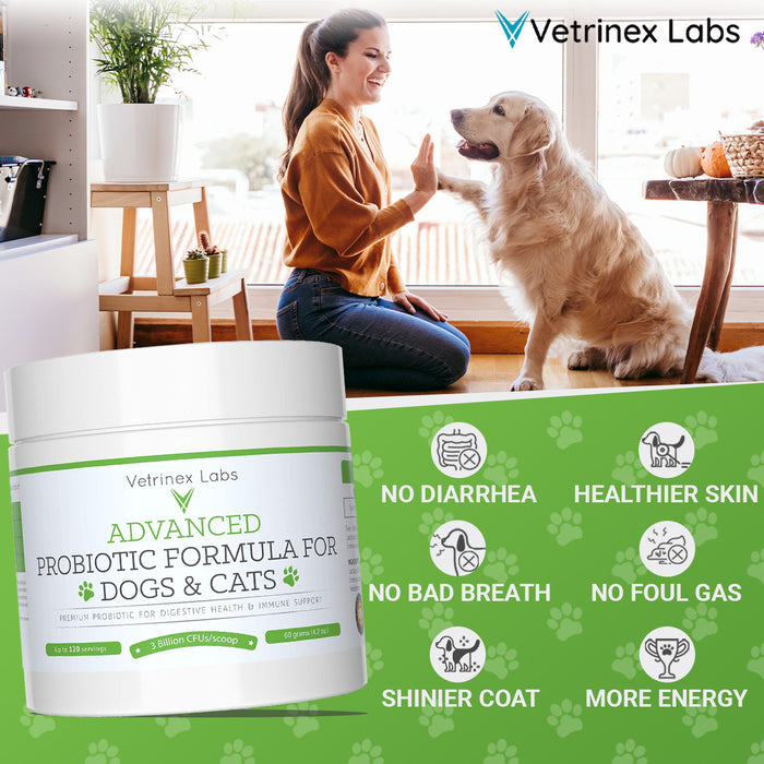 Premium Advanced Probiotic Formula For Digestive Health & Immune Support For Dogs & Cats