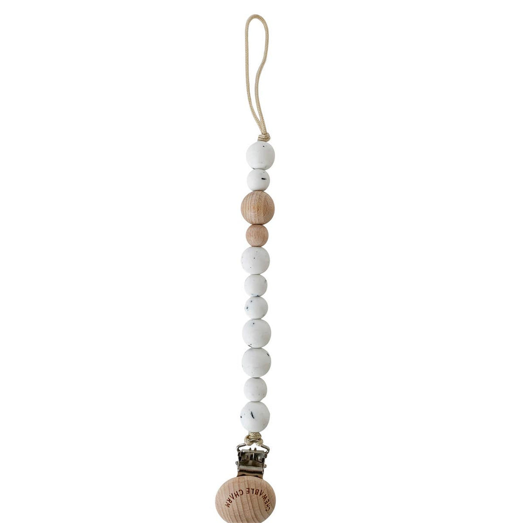 Classic Pacifier Clip - Wood+ Moonstone