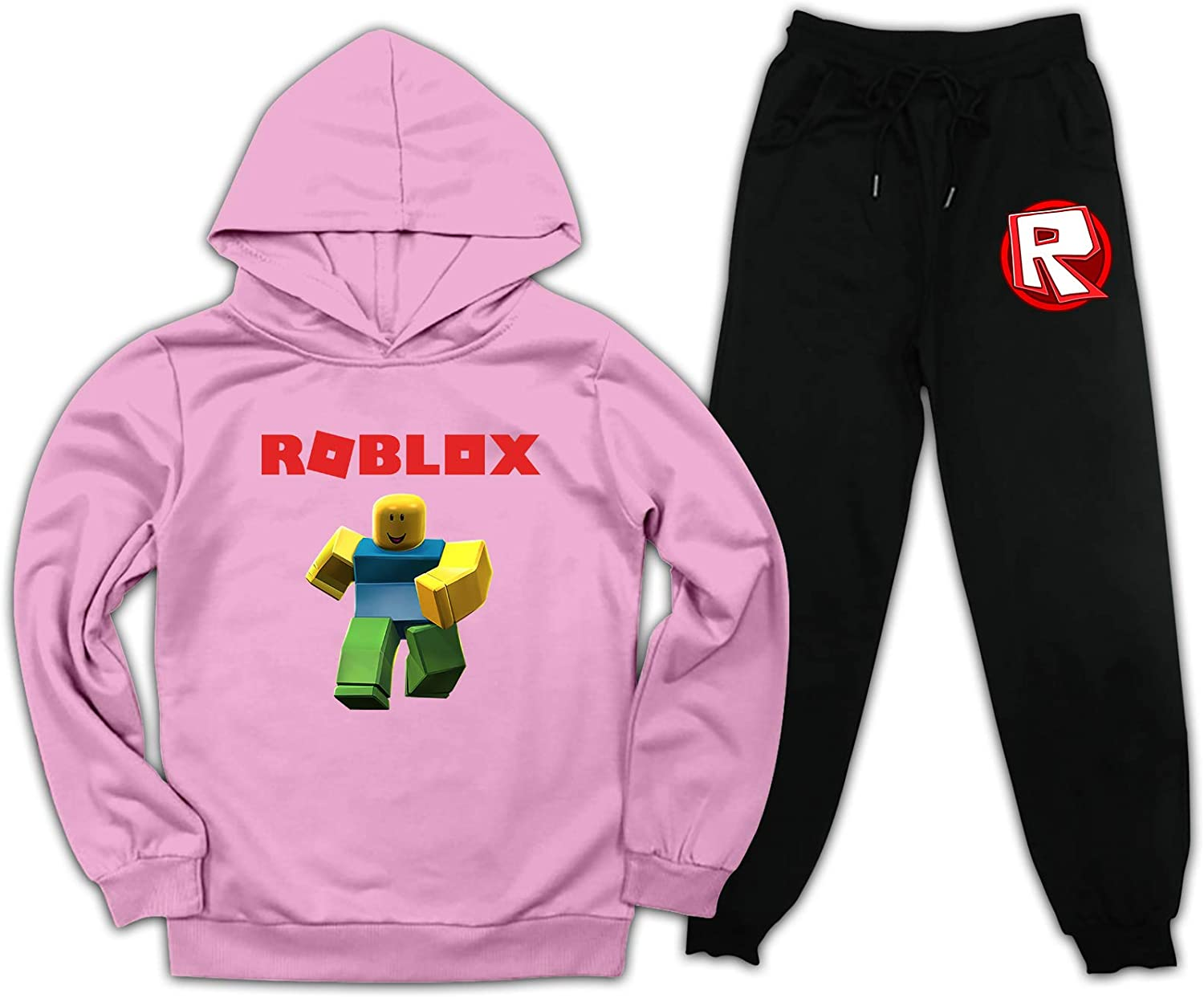 Boys Girls TIK-Tok Pullover Hoodie and Sweatpants Set for Kids 2 Piece Outfit Fashion Jogging Suits