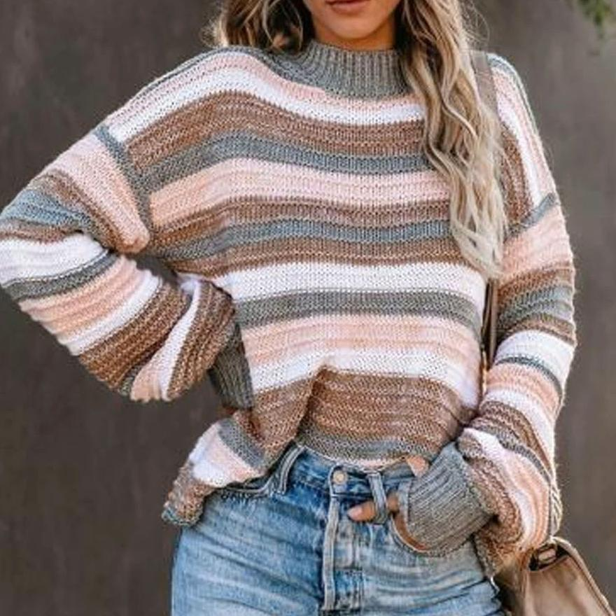 Women Fashion Stripe Casual Sweater