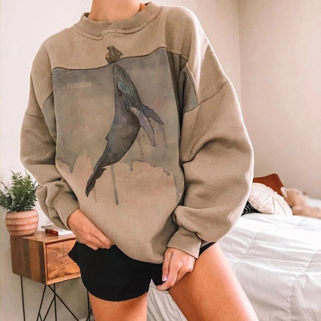 Womens Fashion Round Neck Embroidered Loose Sweatshirt wq42