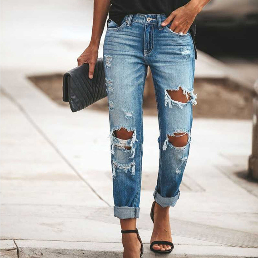 Ripped Sexy Slim Denim Jeans For Women
