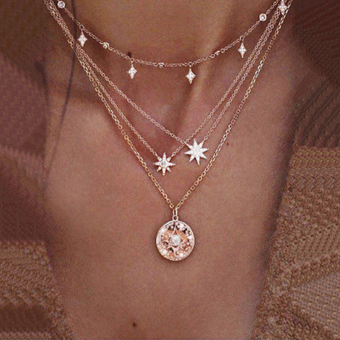Fashion Full Diamond Star Star Multi - Layer Necklace