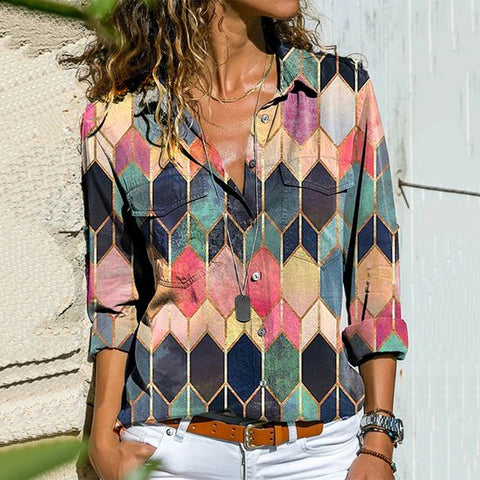 Fashion Color Block Single-breasted Shirt