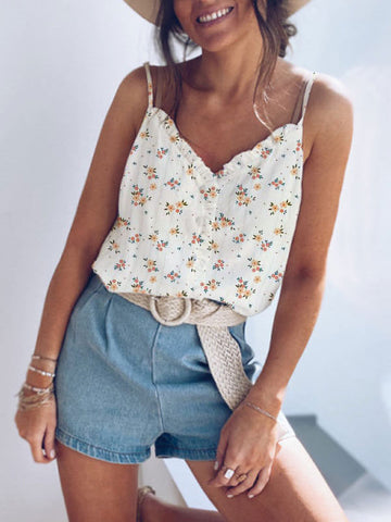 Floral Print V Neck Sleeveless Lace Camisole