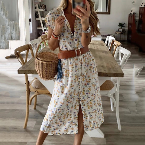 V-neck Short Sleeve Floral Print Midi Dress