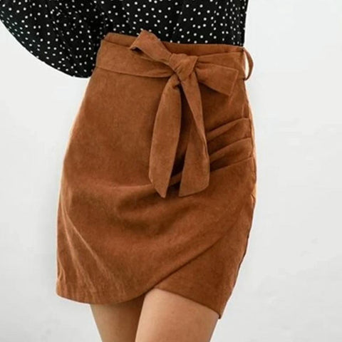 Pure Color Bow Strap Bag Hip Skirt