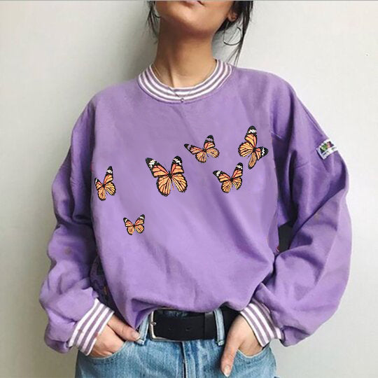 Casual Butterfly Print Sweatshirt