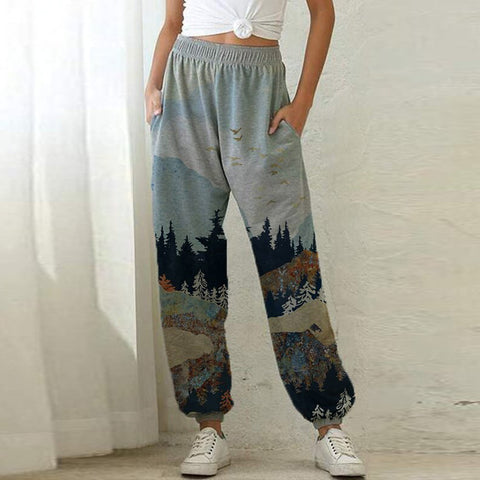 Ladies Mountain Treetop Print Loose Sweatpants