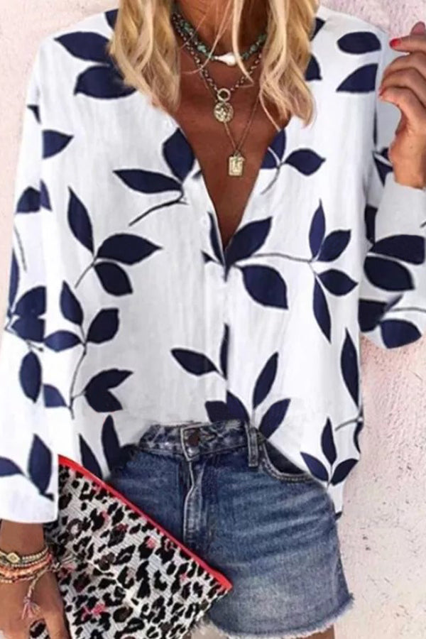 V-neck long sleeve printed shirt