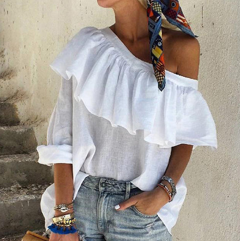 Classy Off The Shoulder Tops Ruffled Pure Colour Blouse Shirt