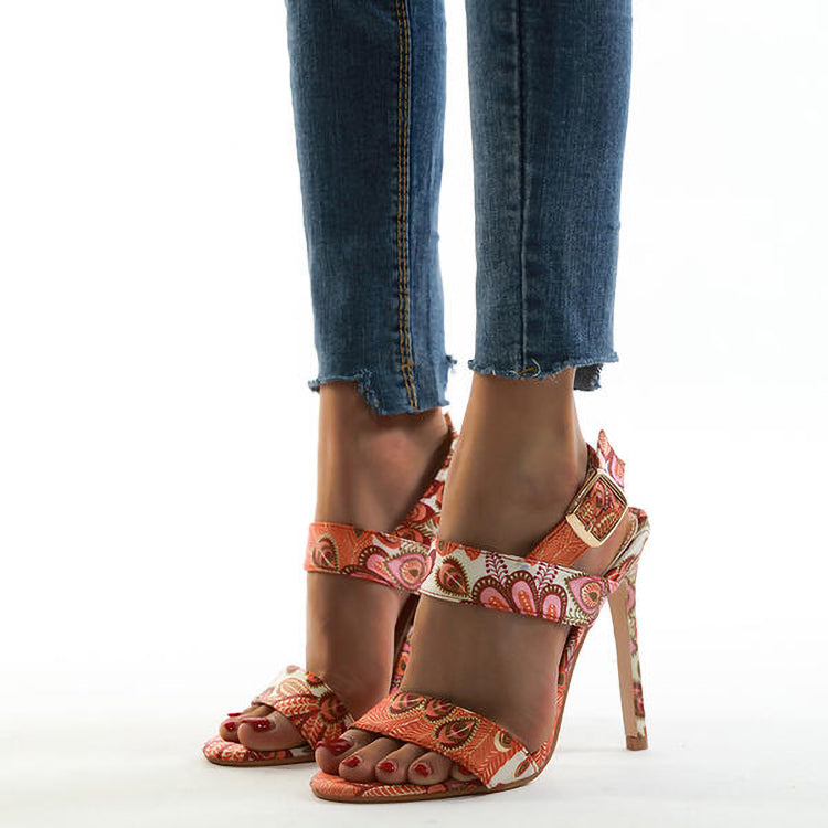Chrisitina™ Fashion Floral And Leaves Printed Stiletto Sandals