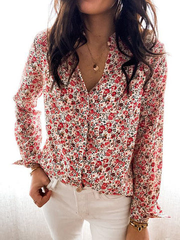 Floral Print Stand Collar Long Sleeve Shirt