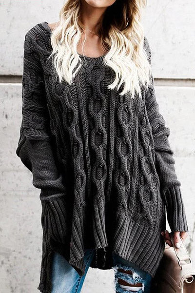 Casual solid color knitted sweater