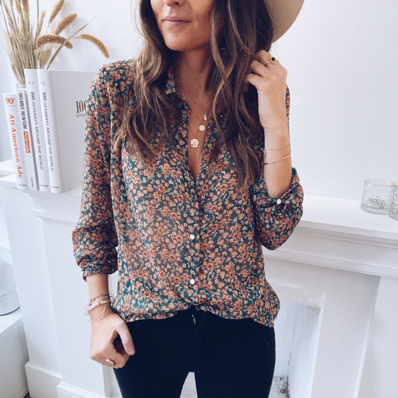 Womens Fashion Casual Floral Shirt TN01