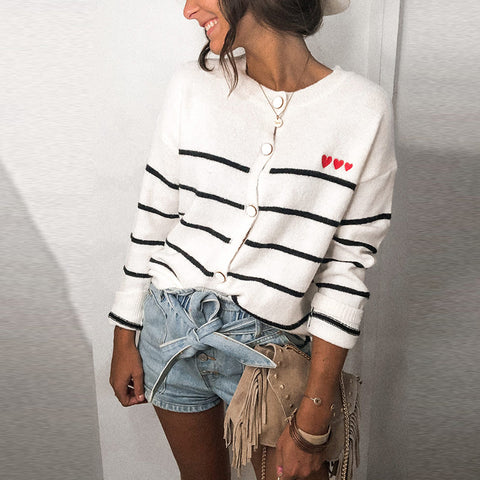 Fashion French Long Sleeve Striped Wool Cardigan