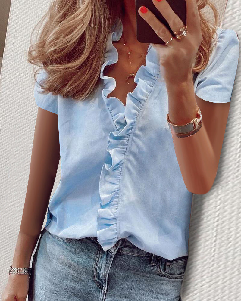 V Neck Short Sleeve Ruffle Solid Blouse