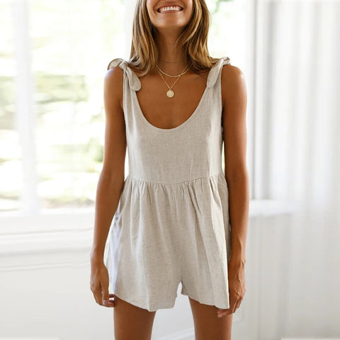 Sleeveless round neck solid color loose jumpsuit
