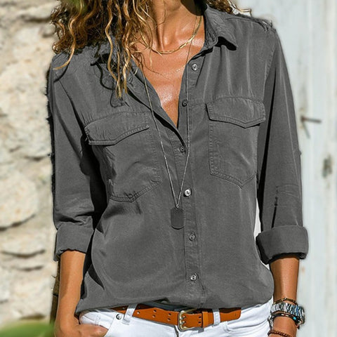 Womens Simple Lapel Shirt