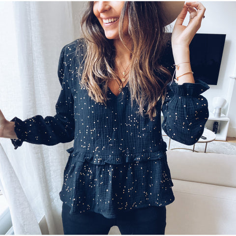 Womens Long Sleeve V-Neck Sequined Top RY87