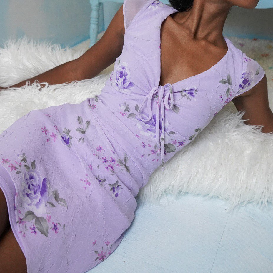Sexy V Neck Floral Printed Lady Dress