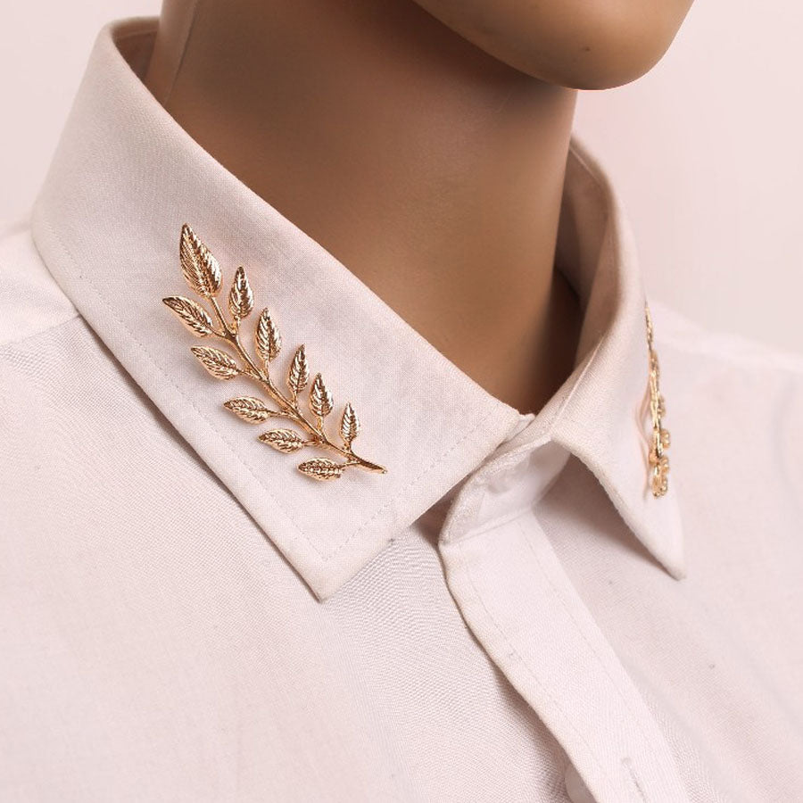 Leaf Pattern Shirt Collar Pin