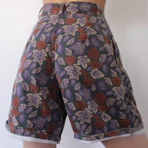 Summer Retro Leaves Casual Shorts
