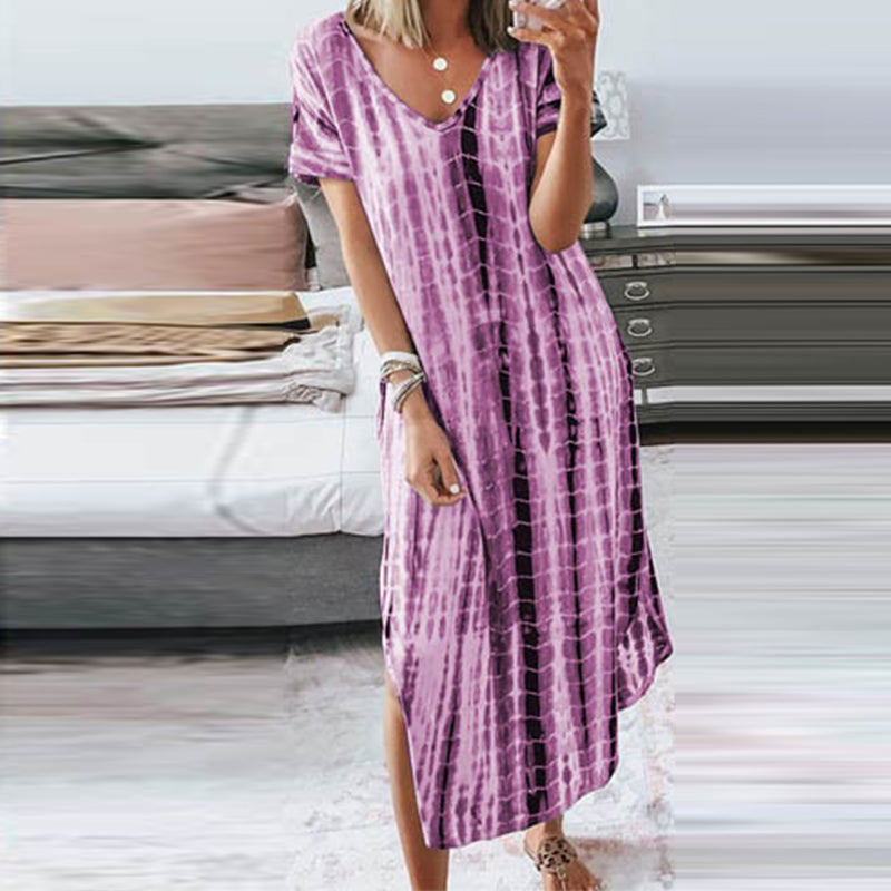 Casual V-neck Short Sleeve Printed Maxi Dress
