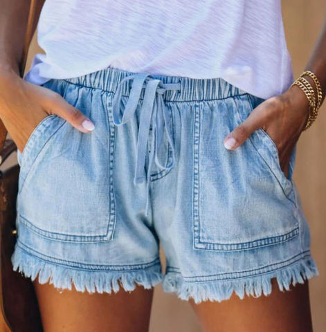 Denim elastic waist tie shorts