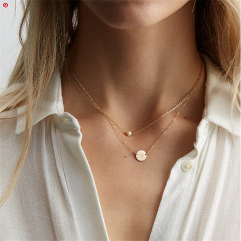 Simple wild round pearl short money chain