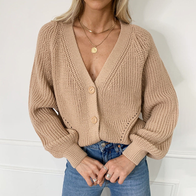 Sweater women's cardigan solid color v-neck lantern sleeve button knit cardigan
