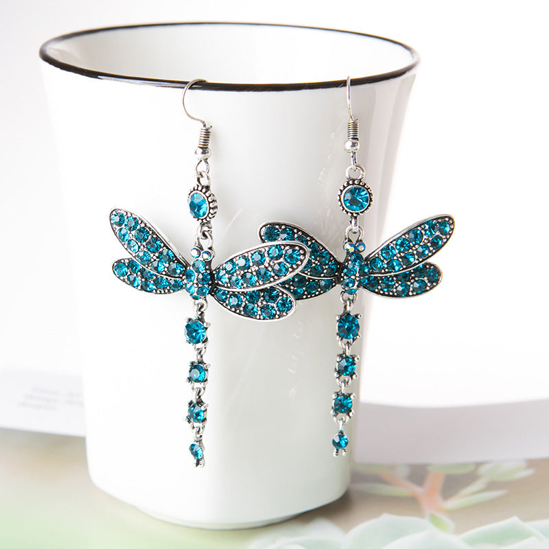 Vintage dragonfly crystal earrings