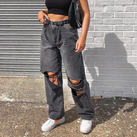 Fashionable Casual Solid Color Ripped Loose Fitting Jeans