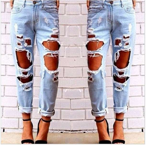 Chrisitina™ Light Wash Extreme Distressed Boyfriend Jeans Ripped Jeans