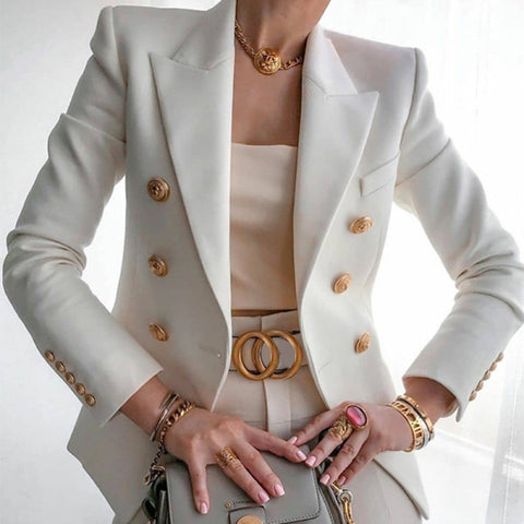 Fashion Solid Button Suit Jacket
