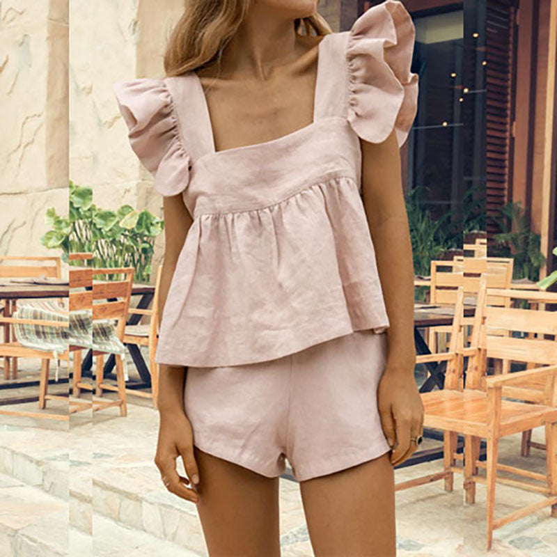Square Collar Ruffle Top & Shorts Set