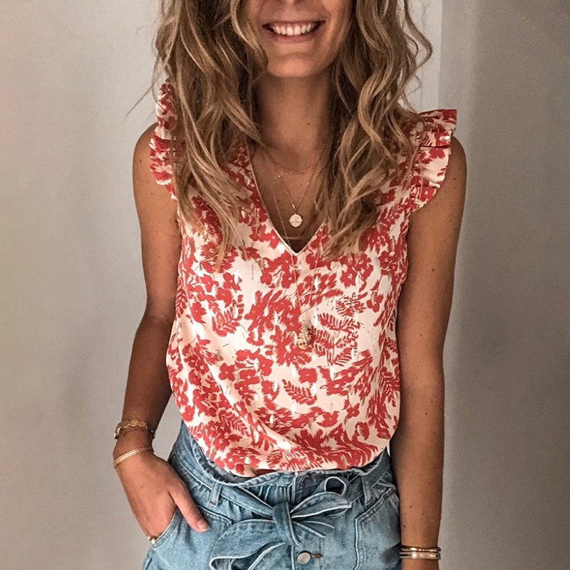 Womens fashion casual floral sleeveless T-shirt RY89