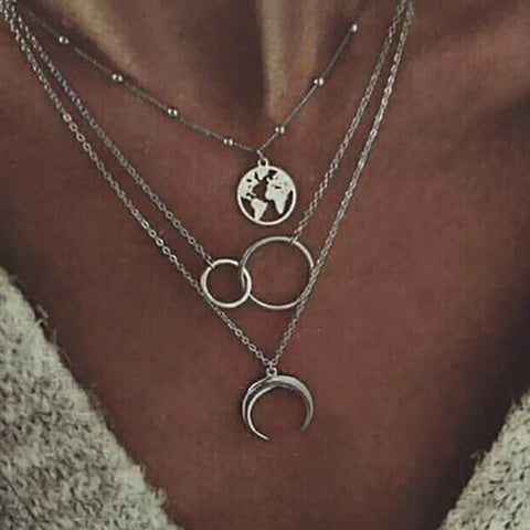 Fashion Multi-layer Moon Map Necklace