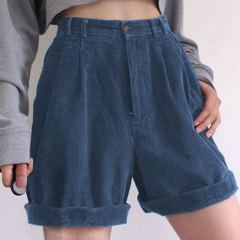 Dark Blue Retro Corduroy Shorts