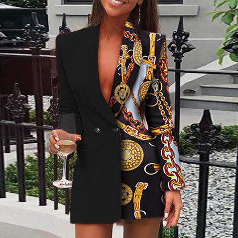 Spliced printed long-sleeve suit